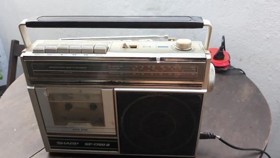 Rádio Portátil Usado Sharp Modelo Gf1780b Am.fm.sw.toca Fit