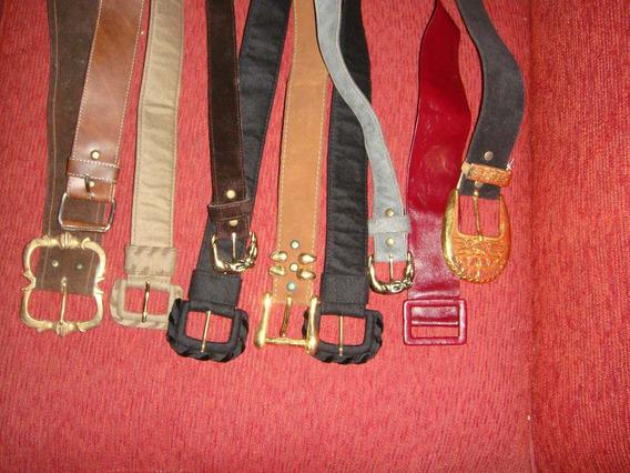 Lote Cinturones Antiguos De Cuero Y De Gamuza