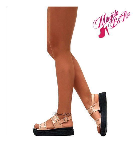 Zapatos Sandalia Art 1570/60 Plataforma Goma Pulsera Tachas