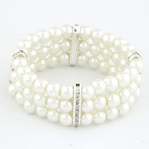 Bisutería Pulsera Elástica De Perlas