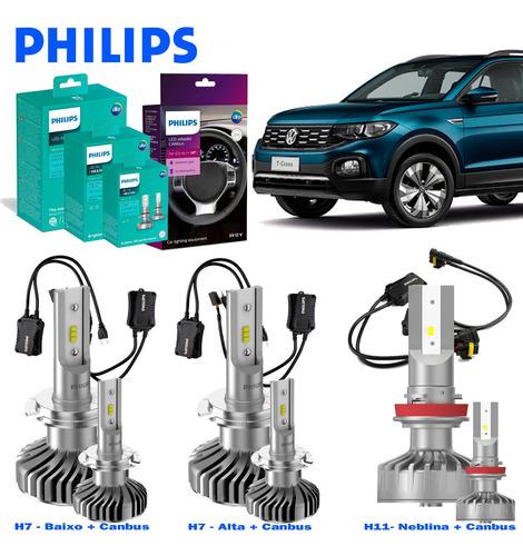 Kit Led Philips Vw T-cross H7 + H11 + Canceller Original
