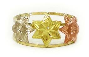 Anel Em Ouro 10k 416 3 Estrelas Grandes