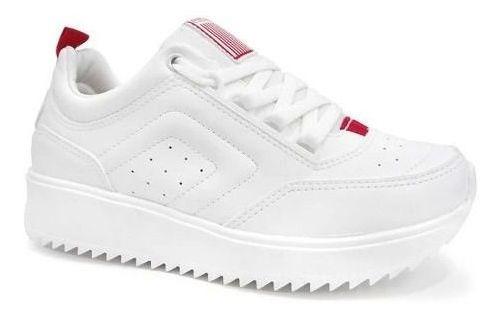 Coca-cola Shoes Tênis Feminino Branco Cc1677 Flat Form Salto