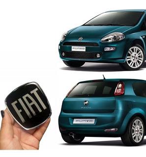 Adesivos Emblema Fiat Black Piano Punto 2008/2016 Kit