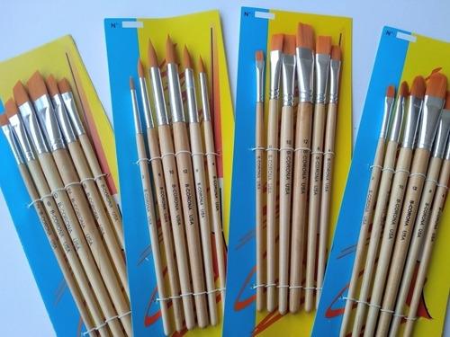 Pincel Set X6 Pinceles Mango De Madera Para Acuarela Tempera