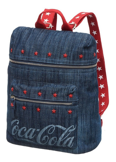 Bolsa Mochila Costas Coca Cola Denim Jeans Pacific 8840106