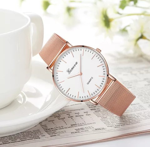 Lindo Relógio Feminino Geneva Bem Elegante +brinde