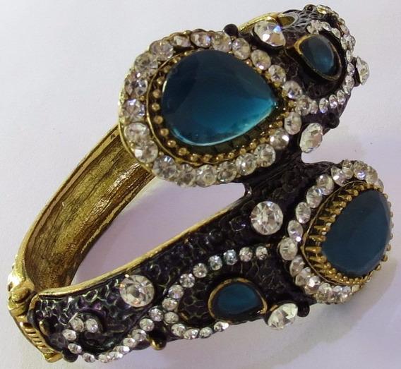 Bracelete Dourado Com Strass Grande - Mola/abertura N033