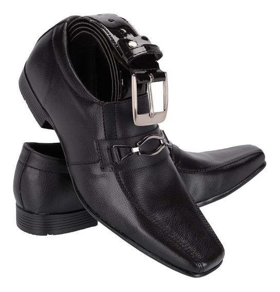 Sapato Social Masculino Em Verniz + Cinto E Carteira