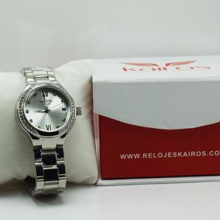 Reloj Dama Plateado Elegante Kairos 100% Original