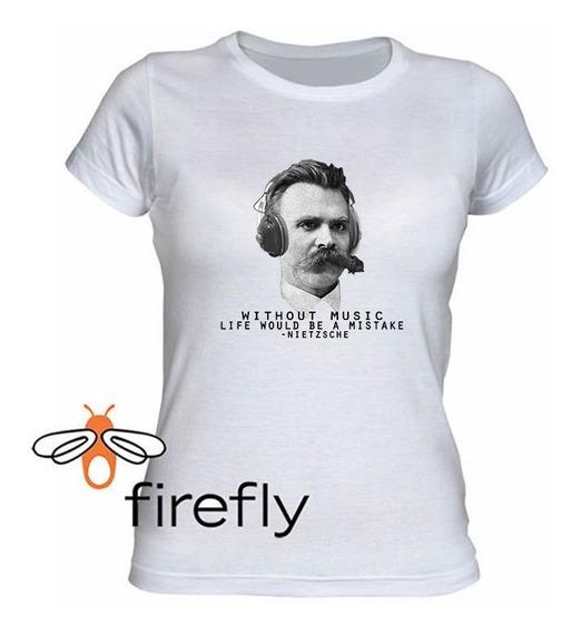 Remera Filosofia Nietzsche Mujer Blanca Coleccion 1 Firefly