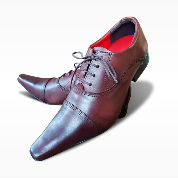 Sapato Social Marrom Bico Fino - Couro Premium (ref. 603)