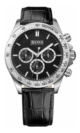 Relógio Hugo Boss Masculino Couro Cronógraph-1513178 Origina