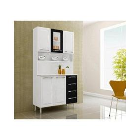 Cozinha Compacta Criativa 5 Portas 4 Gavetas Preto - Itatiai