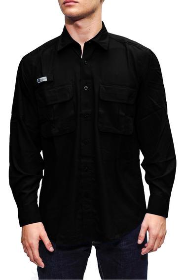 Camisas Ke Manga Larga Negro Caballeros #cl11-2701