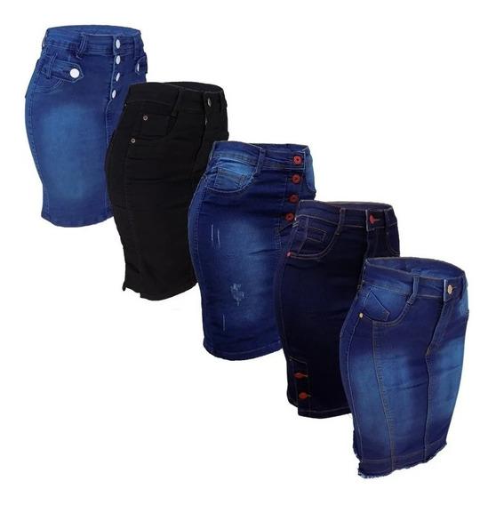 Kit 4 Saia Jeans Lycra Moda Evangélica Variadas Promoção