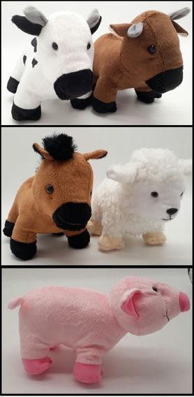 Fazendinha Kit 5 Pelúcias Bichos Cavalo, Ovelha, Vaca, Porco