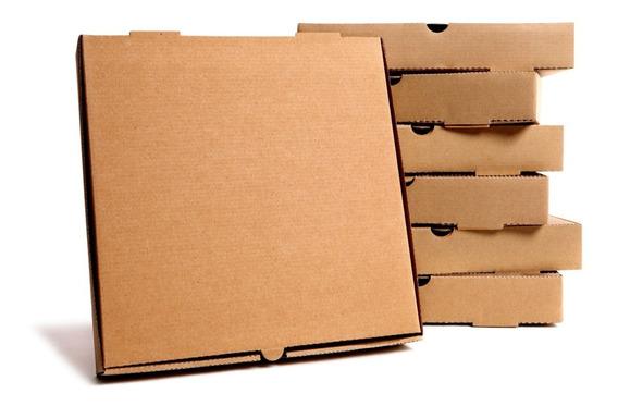 100 Cajas Para Pizza Kraft 45x45x4 Cms 18 Pulgadas