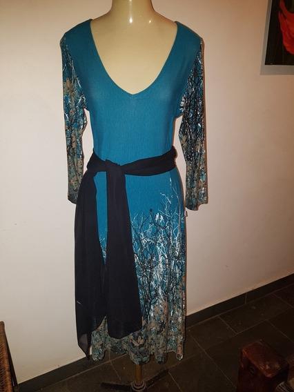 Vestido Azul Comprimento Médio Usado