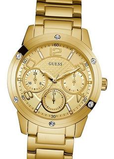 Reloj Guess W0778l2 Gold Cristal Swarovski 100% Acero