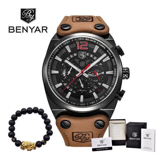 Relógio Benyar Masc. Aço, Pulseira Couro Calendário - Preto