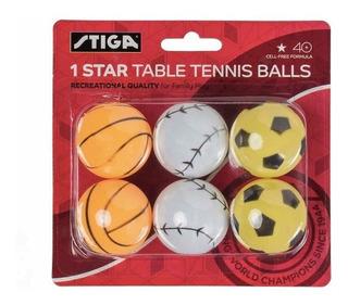6 Pelotas Ping Pong Emojis Stiga Amarillo Star Table Tennis