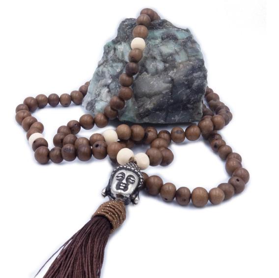 Japamala 108 Contas De Semente E Madeira + Buda Meditação