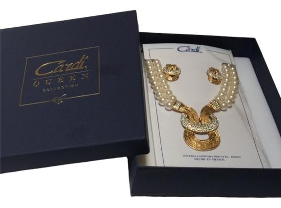 Collar De Perlas Y Aretes Oro Laminado 14 Kilates Ubel Shop