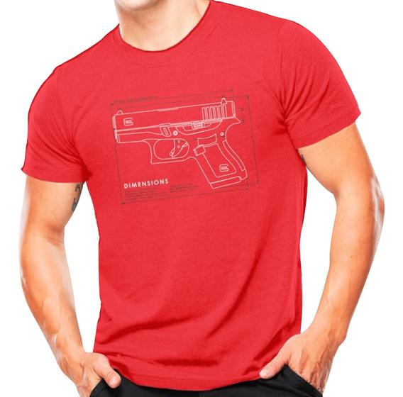 Camiseta Manga Curta Masculina Glock Atack Militar Vermelho