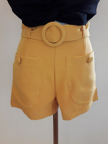 Shorts Social Feminino Cintura Alta Alfaiataria