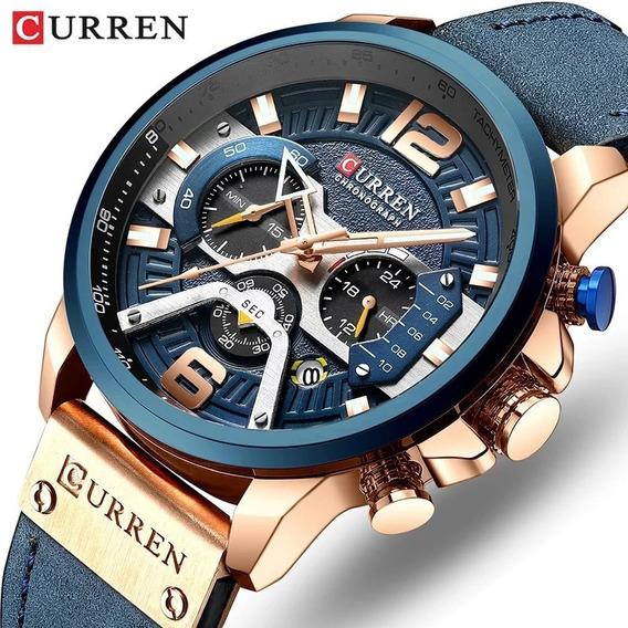 Relógio Original Curren Pulseira Em Couro Azul Menor Preço