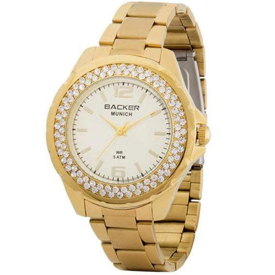 Relógio Backer Feminino Dourado Com Cristais 3341145f Ch
