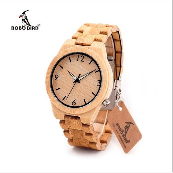 Relógio Quartzo Bobo Bird Bambu Em Madeira Natural Original