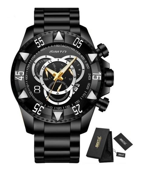 Relógio Masculino De Luxo Original Gimto Cronógrafo Aço Inox