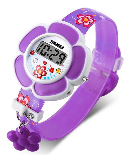 Reloj Skmei 1144 Morado Niñas Infantil Moda Diseño Flor S