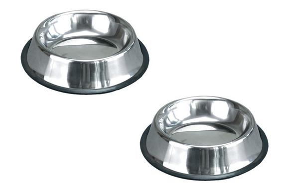 Comedouro Inox Anti-derrapante P/ Cães E Gatos 480 Ml 2 Unid