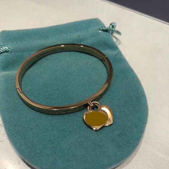 Bracelete Pulseira T Heart Coração Duplo Banhado A Ouro