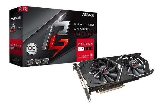Placa De Video Rx 580 8gb Asrock Phantom Gaming X Rx580 Oc