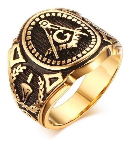 Anel Ordem Dos Templários Maçonaria Titânio Ouro Banho 18k