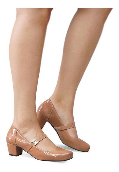 Sapato Salto Baixo Medio Grosso Feminino Confortável 1612
