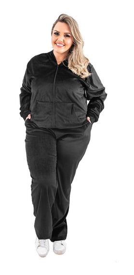 Conjunto Feminino Plus Size Plush G1 G2 G3 Veludo De Inverno