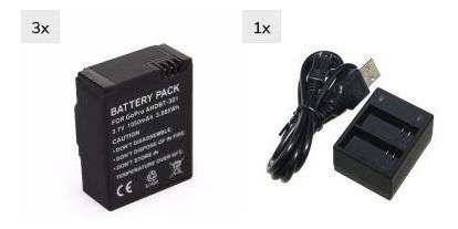 Kit Carregador Go Pro Gopro Usb + 3 Bateria Hero 3