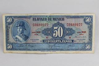 Billete 001 50 Pesos El Banco De Mexico Diciembre 1972