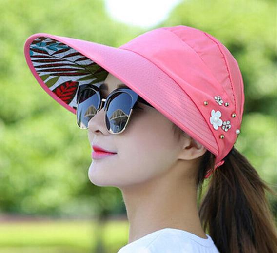 Visera Para Mujer Dama Proteccion Uv Sombrero Enrollable