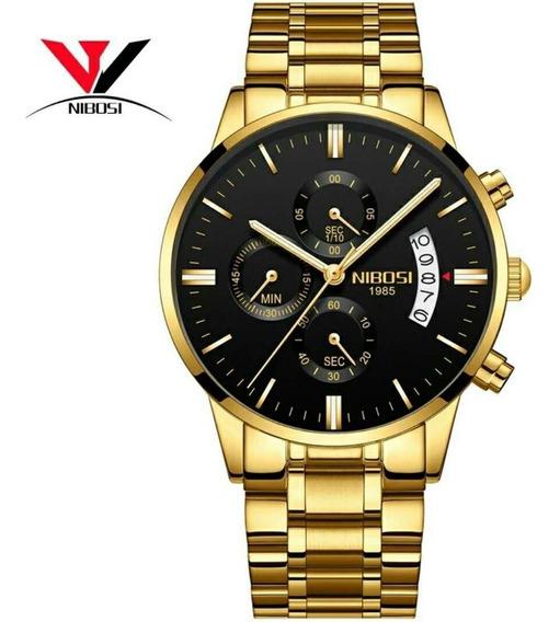 Relógio Masculino Nibosi Ni2309 Cronógrafo Gold Completo