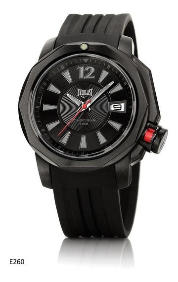 Relógio Pulso Everlast Masculino Aço Silicone Preto E260
