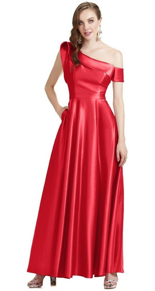 Vestido Largo Off Shoulder Rojo Eva Brazzi