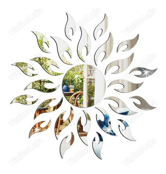 Espelho Decorativo Em Acrílico Sol Criativo Abstrato
