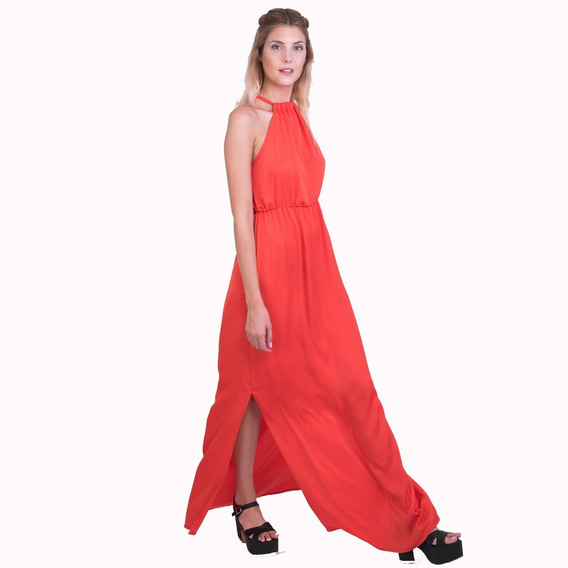 Vestido Fiesta Largo Naranja Talle M Somos Fabricantes
