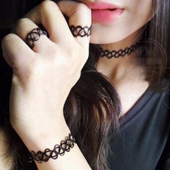 Gargantilha Choker Tattoo Tribal Tatuagem 3 Pçs Frete R$9